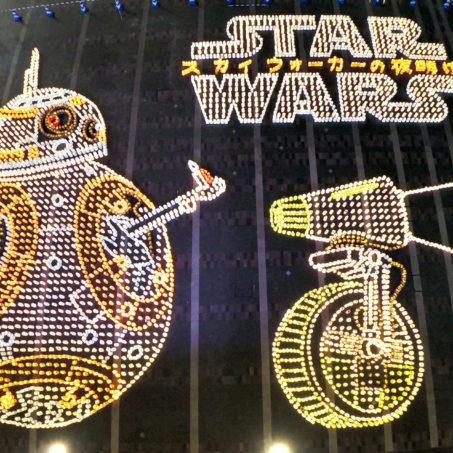 最後の『スターウォーズ』公開記念!灯明地上絵を博多駅前広場にて一夜限りのお披露目!